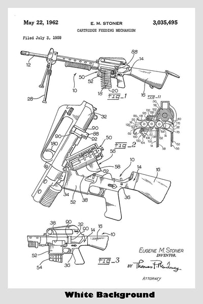 Ar15/M16 Automatic Machine Gun Ammunition Feeder Patent Print Art Poster