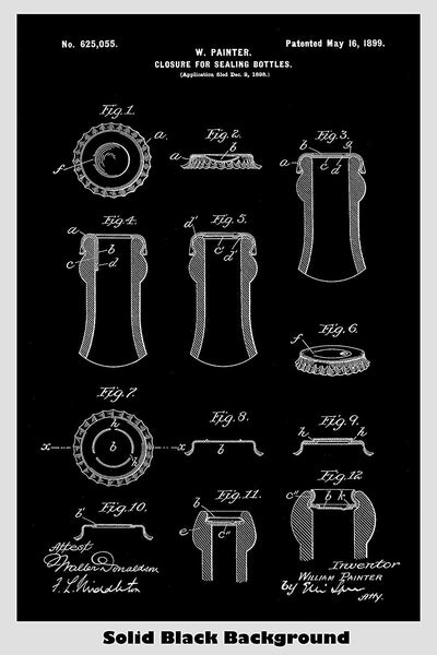 Beer Bottle Cap Sealing Device Poster Patent Print Art Poster