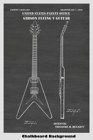 Gibson Flying V Guitar Patent Print Art Poster