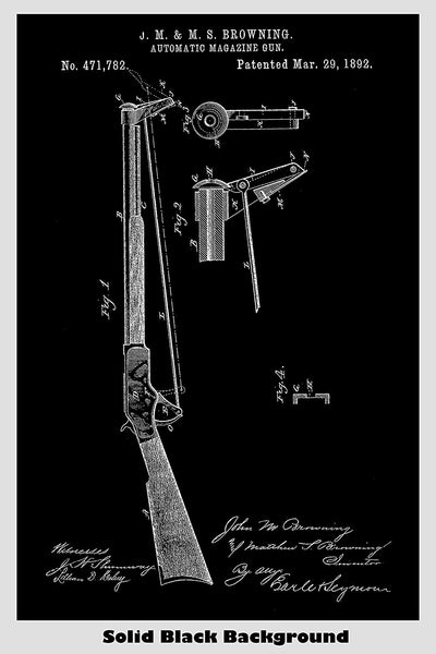 Browning Automatic Magazine Rifle Patent Print Art Poster