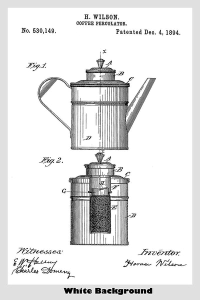 Coffee Percolator Patent Print Art Poster