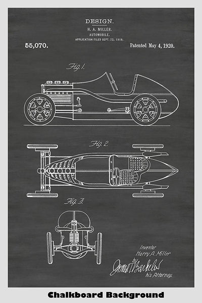 Design Patent for a 1920's Roadster Presented On A Chalkboard Background