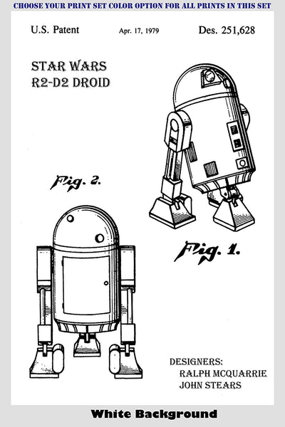 Star Wars Characters - R2-D2 Droid, C-3PO Robot, Yoda and Ewok Patent Print Art Posters Wall Decor Collection