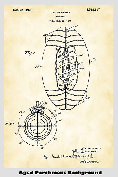 Antique Football Game Ball Patent Print Art Poster