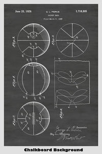 Basketball Ball Patent Print with a chalkboard background