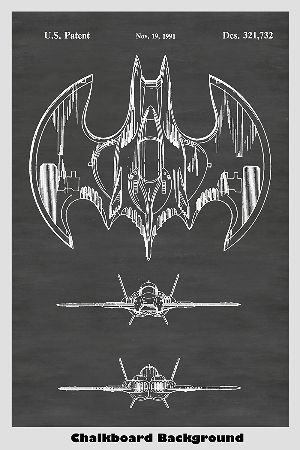 Batman's Batwing Airplane Patent Poster