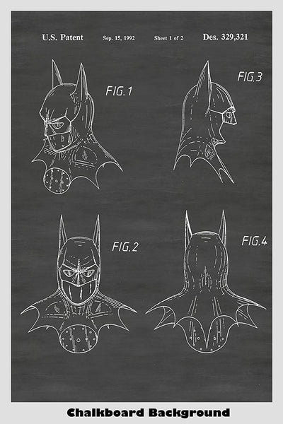 Batman's full face mask poster based on patent design