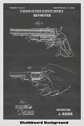 1858 Remington Rider Pocket Revolver Patent Print
