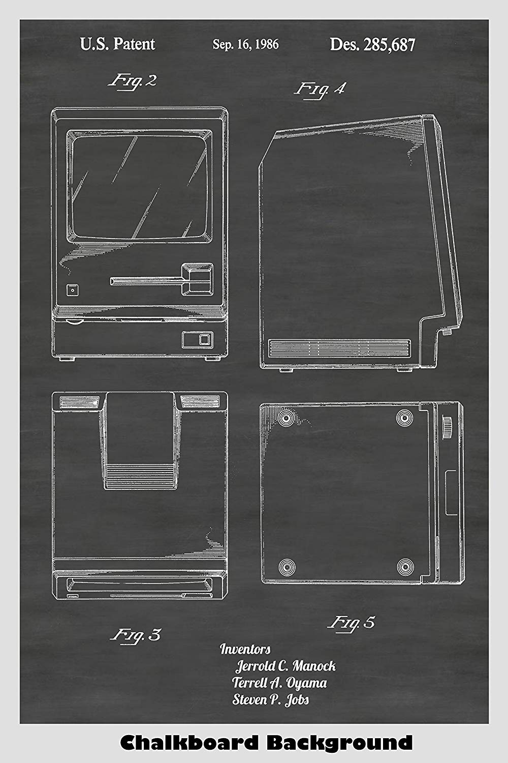 Apple Macintosh Patent Print showing the look of its unique housing.