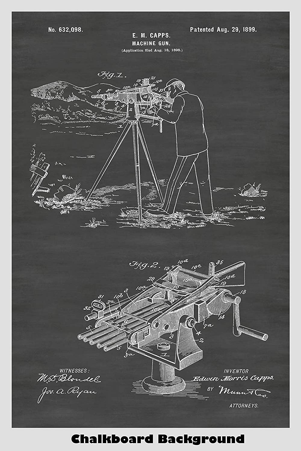 Capps Rapid Firing Machine Gun Patent Print Art