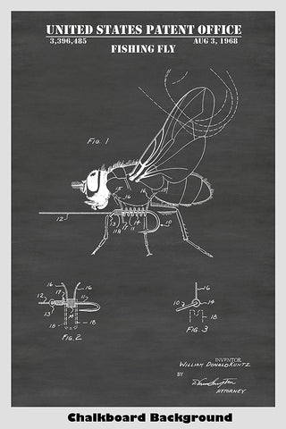 Fly Fishing Fly Patent Print Art Poster