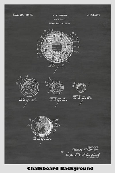 Late 1930's patent of a golf ball shown in our chalkboard background