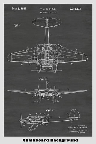 Military World War II Era Airplane Patent Print Art Poster