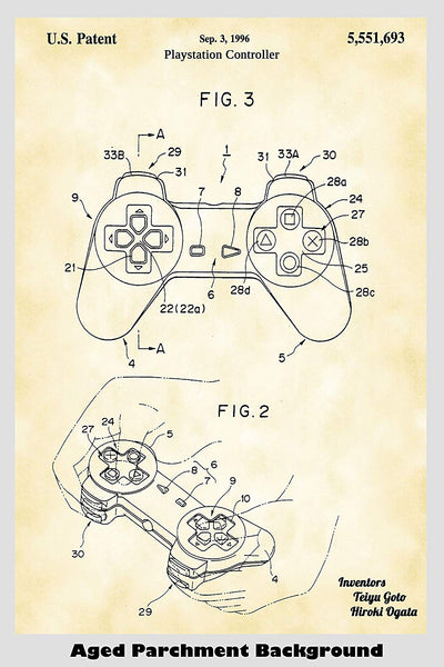 Sony Playstation Controller Patent Print Art Poster