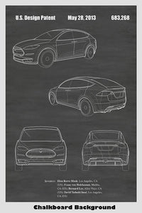 Tesla Model X Automobile Patent Print Art Poster