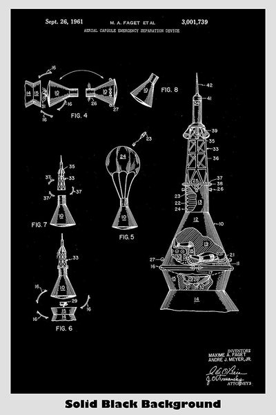 Space Ship Capsule Design Patent Print Art Poster