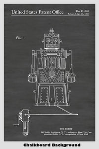 Toy Robot Patent Print Art Poster