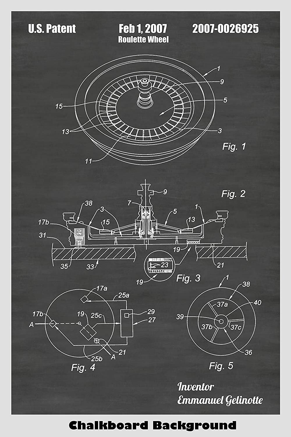 Roulette Wheel Patent Print Art Poster