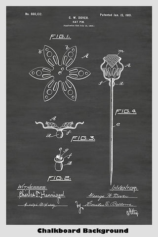 Flower Shaped Hat Pin Patent Print Art Poster