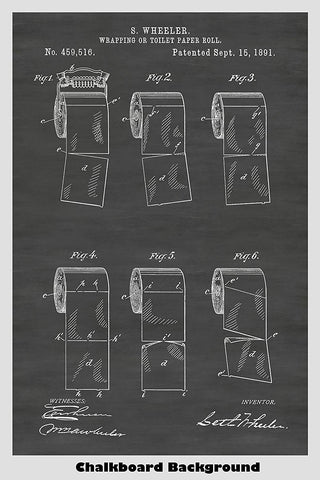 Vintage Toilet Paper Roll Patent Print Art Poster