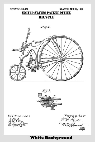 Antique Steampunk Style 1890's Bicycle Patent Print Art Poster