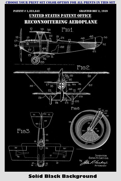 Vintage Propeller Airplanes Patent Print Art Posters Wall Decor Collection
