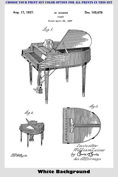 Vintage Grand Pianos Patent Print Art Posters Wall Decor Collection
