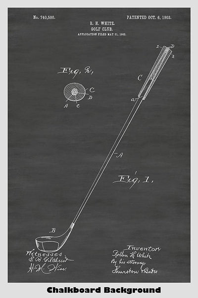 early 1900's golf driver patent poster on a chalkboard background