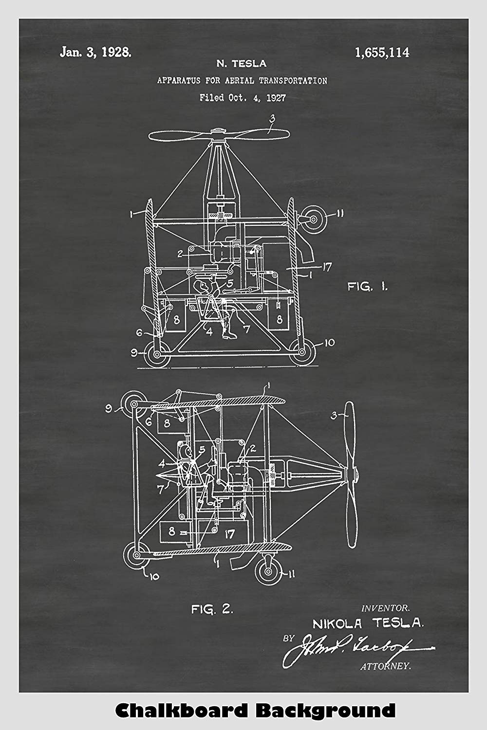 Nikola Tesla Flying Machine Helicopter Poster Patent Print ... on