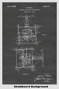 Nikola Tesla Flying Machine Poster Patent Print Art Poster