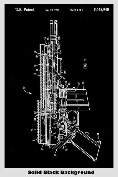 Gas Operated M-16 Pistol Patent Print Art Poster