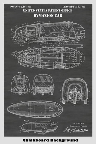 Steampunk Style Dymaxion Car by Buckminster Fuller Patent Print Art Poster