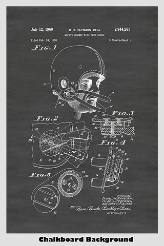 Football Safety Helmet Patent Print Art Poster