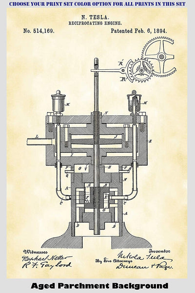 Nikola Tesla Steam Engine, Recirprocating Engine, Tesla Coil and Electromagnetic Motor Patent Print Art Posters Wall Decor Collection