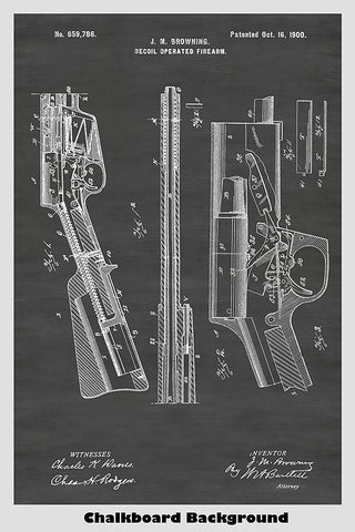 Browning Recoil Rifle Patent Print Art