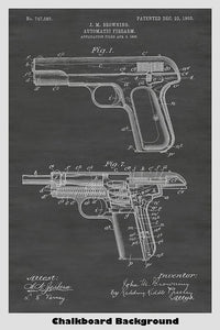 Browning Automatic Pistol Patent Art Poster