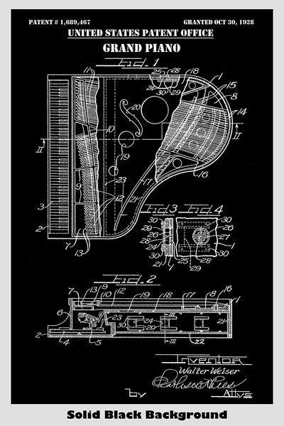 Grand Piano Patent Print Art Poster