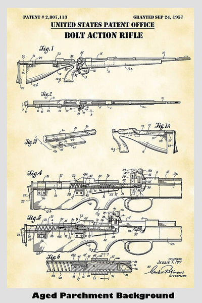 Bolt Action Rifle Poster Patent Print Art Poster