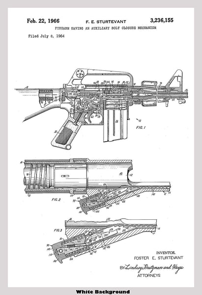 AR-15 Semi-Automatic Rifle Patent Print Art Poster