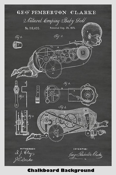 Victorian Era Mechanical Toy Doll Patent Print Art Poster