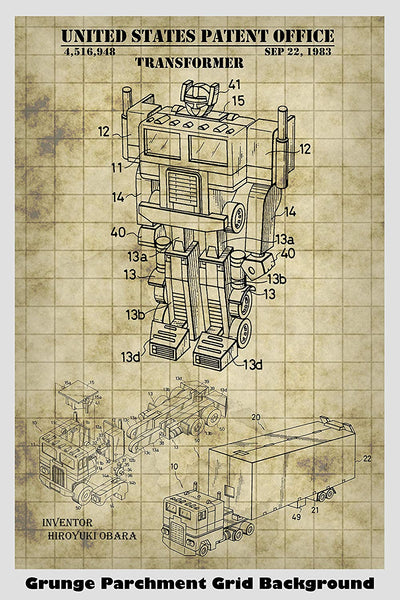 Optimus Prime Transformer Toy Patent Print Art Poster