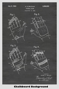Vintage Football Gloves Patent Print Art Poster