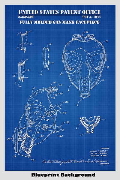 Gas Mask Patent Print Art Poster