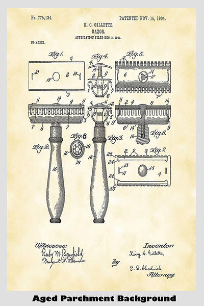 King Gillette Safety Razor Patent Print Art Poster