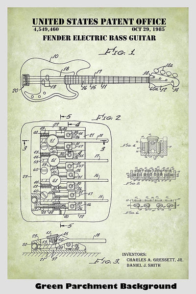 Clarence Fender Electric Bass Guitar Patent Print Art Poster