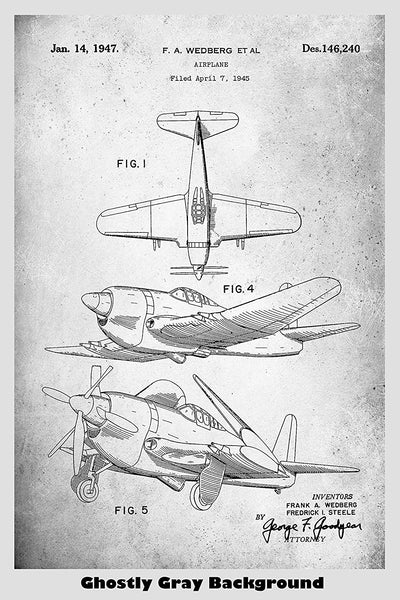 WWII Era Military Airplane Patent Print Art Poster