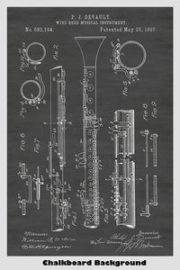 Wind Reed Clarinet Patent Print Art Poster