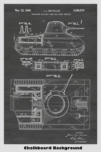 US Army Tank Patent Print Art Poster