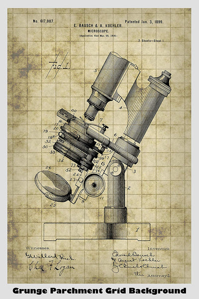 Vintage 19th Century Bausch Microscope Patent Print Art Poster