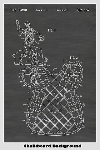 Baseball Catcher's Chest Protector patent on a chalkboard background.